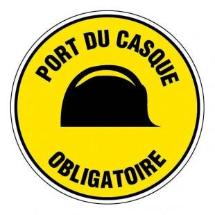 Epi panneau rond port du casque obligatoire fond jaune - Le port du casque a velo est il obligatoire ...