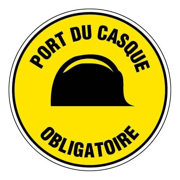 epi panneau rond port du casque obligatoire fond jaune. Black Bedroom Furniture Sets. Home Design Ideas