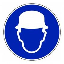 Panneau rond - Port du casque obligatoire (fond bleu)
