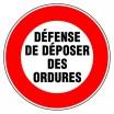 Panneau rond - Défense de déposer des ordures